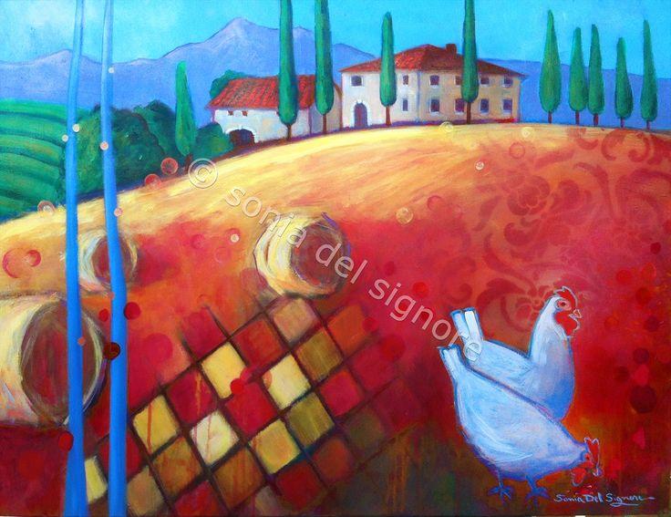 """Villa Toscana by Sonia Del Signore 30"""" x 40"""" acrylics"""