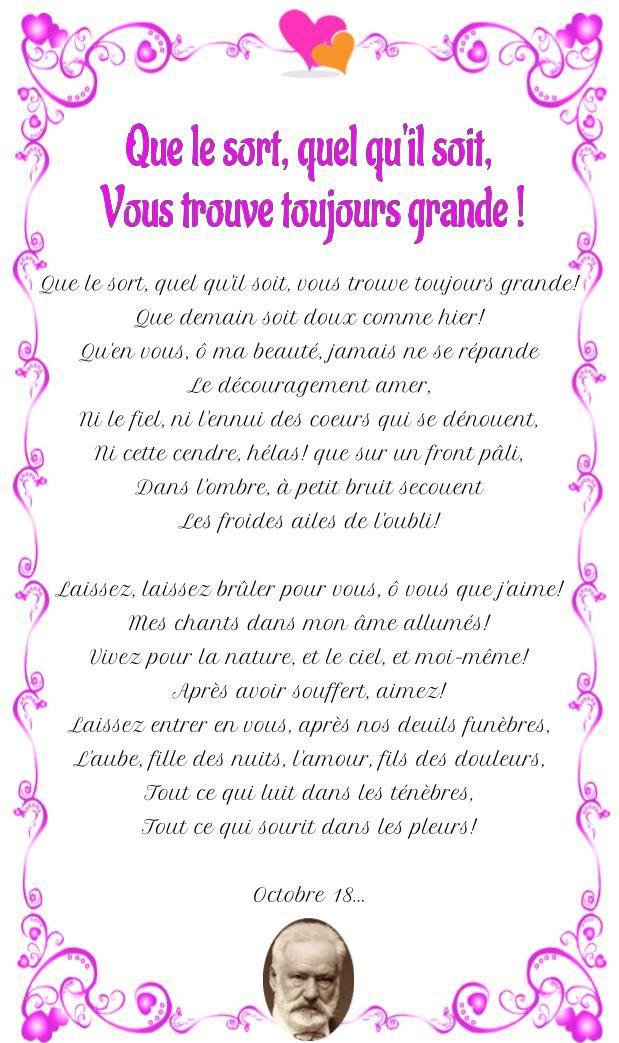 Poesie D Amour Que Le Sort Quel Qu Il Soit Vous Trouve Toujours Grande Poesie D Amour Sort Poesie De Victor Hugo