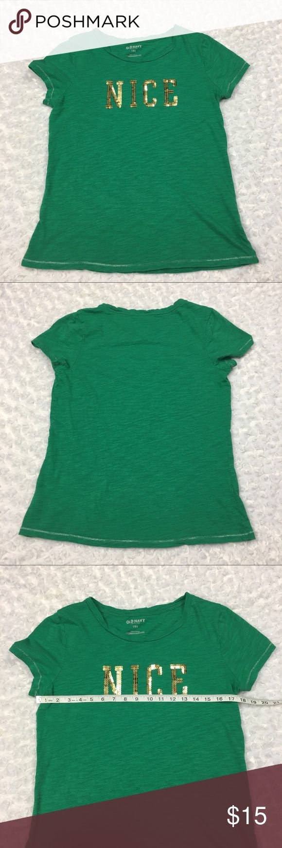 Christmas Holiday Tshirt Nice in Gold Sequins Womens Old Navy Green Cap Sleeve Christmas Holiday Tshirt w Nice in Gold Sequins  Size: Womens Large, SEE PHOTOS FOR MEASUREMENTS  Condition: Gently used, no flaws.  * This listing is for ONE (1) Shirt *  - Silver accent string at the hems. SEE PHOTOS  * See photos for measurements and more details *  Please note: Color may vary slightly due to different display screen calibrations.  [D-46] Old Navy Tops Tees - Short Sleeve