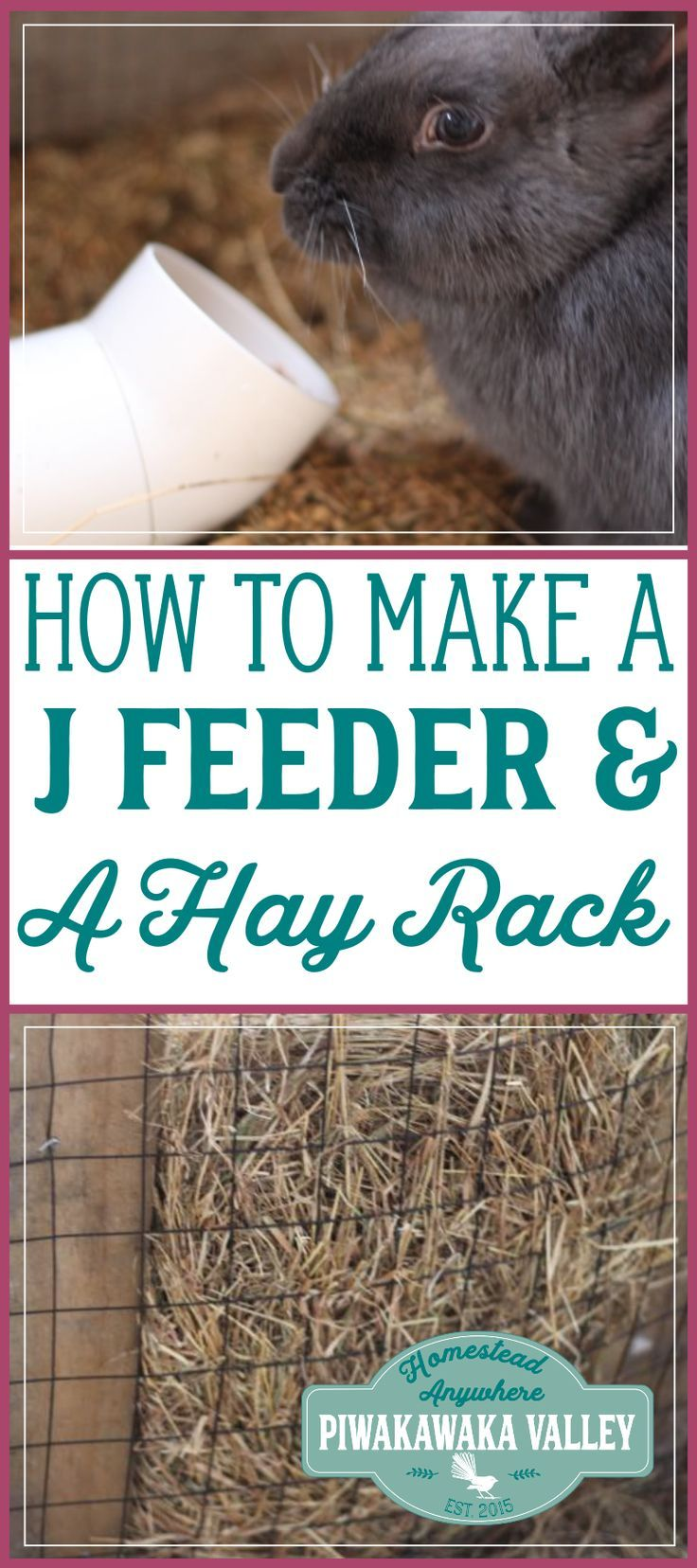Do you struggle with spilt rabbit and chicken feed? This j feeder and hay rack will sort it for you! making a j feeder is super easy find out how here. #chickens #rabbits #DIY #feeder