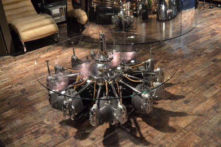 Tavolino motore originali di aerei degli anni 30' - tavolo design - Arteinmotion