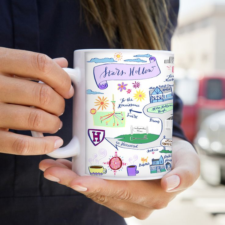 Gilmore Girls Stars Hollow Map Coffee Mug Pigment & Parchment Calligraphy Hand Drawn Maps