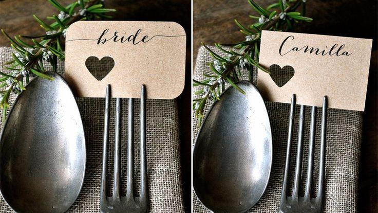 Marque-place mariage étiquette fourchette