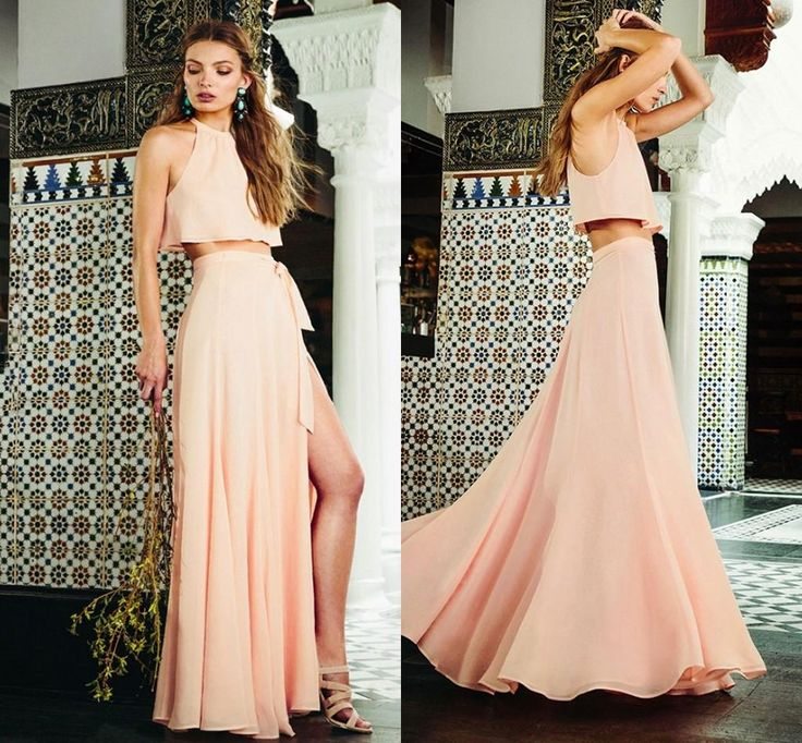 2016 Two Pieces Cheap Bridesmaid Dresses Jewel A Line Side Split Long Elegant Blush Pink Beach Maid of Honor Prom Evening Gowns 2015, $60.89 from modeldress on m.dhgate.com | DHgate Mobile