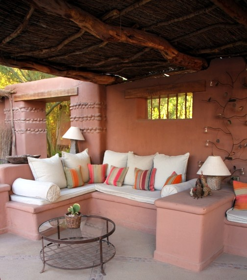 Lounging area with amazing textiles and inviting nooks at Awasi in the Atacama Desert of Chile