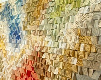 Grote hout Wall Art, 2017 kleur trends, geometrische art