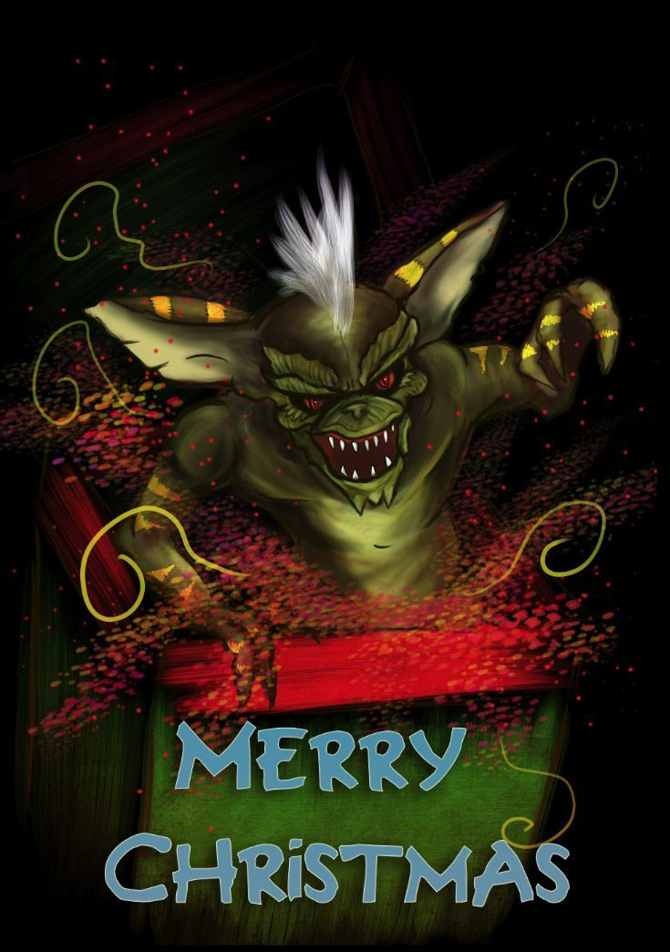 Pin By All Things Movies On Gremlins Pinterest Christmas Greeting Messages Christmas Greetings Messages Creepy Christmas Vintage Christmas Greeting Cards