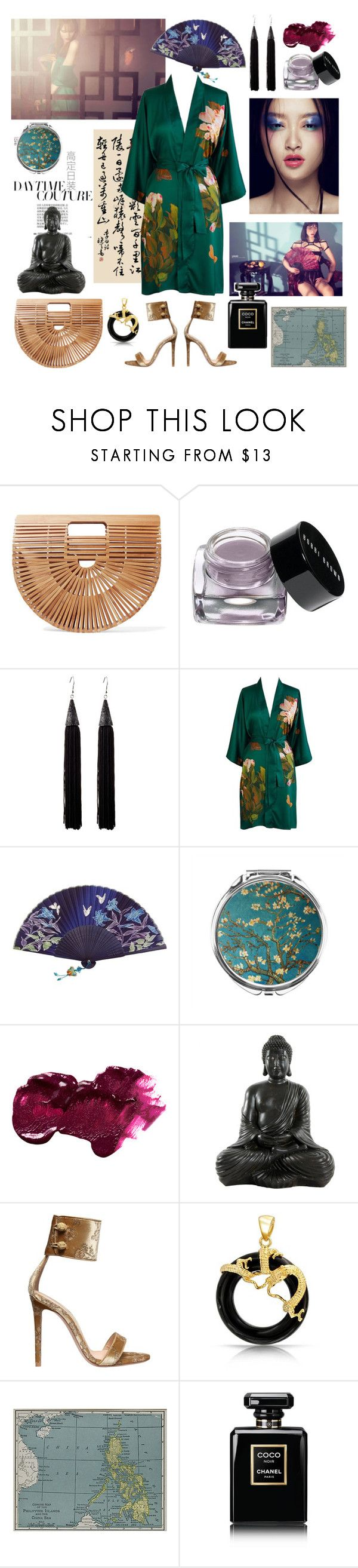 """""""Tales of Far East"""" by sophier ❤ liked on Polyvore featuring MYF, Cult Gaia, Bobbi Brown Cosmetics, Eddie Borgo, Anastasia Beverly Hills, Gianvito Rossi, Bling Jewelry, Campbell's Melange and Chanel"""