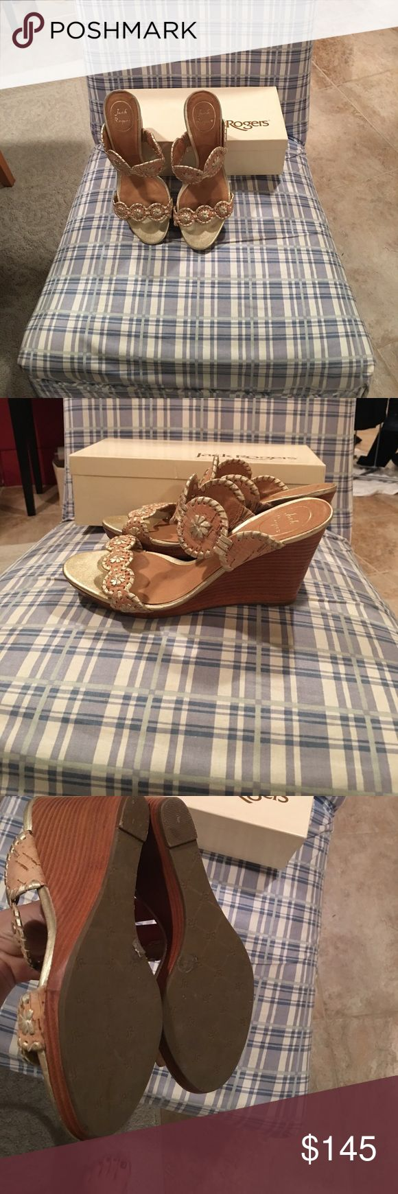 Jack Rogers Gold and tan wedge sandal! Worn once! Almost new! Tan with gold stitching Jack Rogers wedge! Jack Rogers Shoes Wedges
