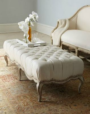 Love this combo of ottoman, love seat and rug.