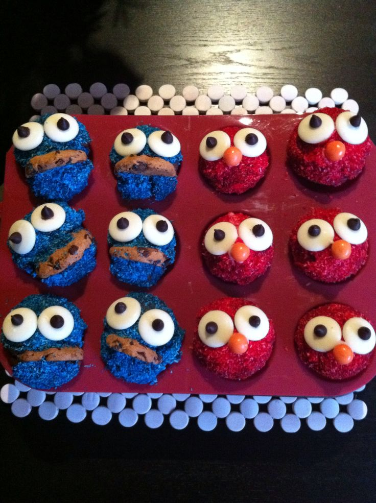 Elmo and Cookie Monster cup cakes for my nieces 2nd bday.