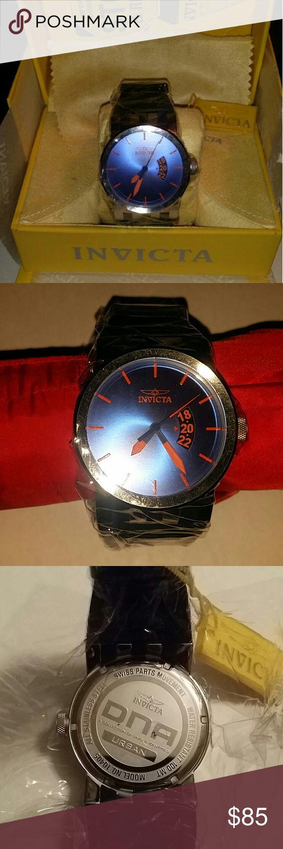Invicta watch Brand new in the box. Never worn. Blue face, orange details, stainless steel, silicone strap. Great for a fashionable person or for representing a school/college or sports team. Men's watch but can be worn by a woman who likes a large face watch. Invicta Accessories Watches