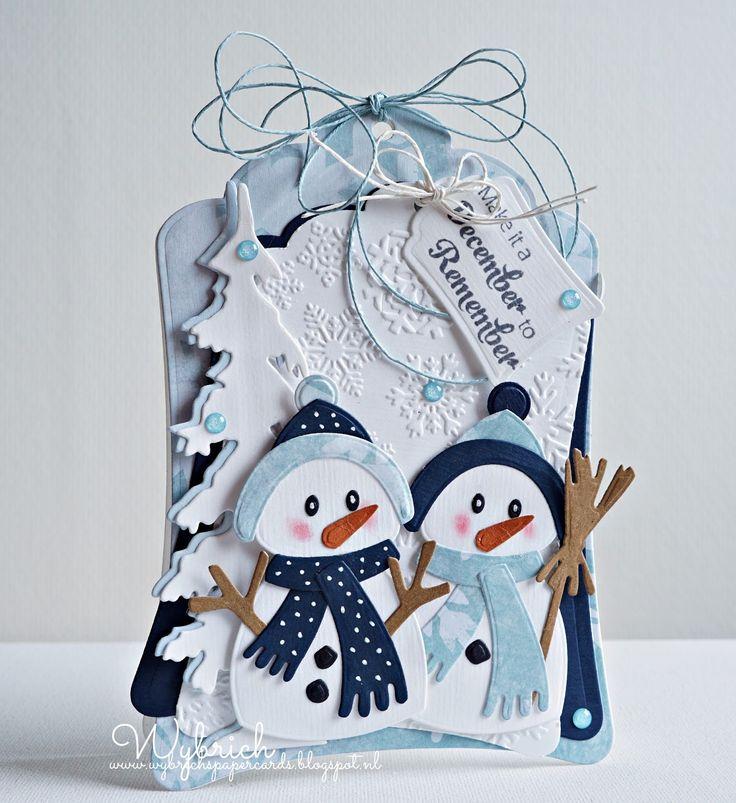 Een kaart/creatie in blauw wit tinten, dat is het thema van challenge 164 van het Marianne Design challenge blog. Het is een winters label ...