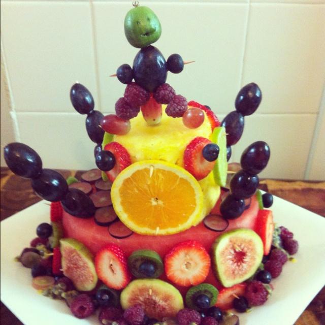 Fruit birthday cake yum!