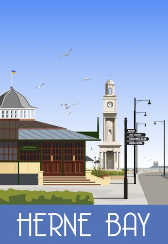 Herne Bay Clock Tower. Railway Poster style Illustration by www.whiteonesugar.co.uk Drawn by Nigel Wallace of White One Sugar