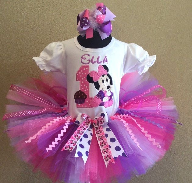 Baby Minnie Mouse Cupcake Purple Pink 1st Birthday Tutu Outfit