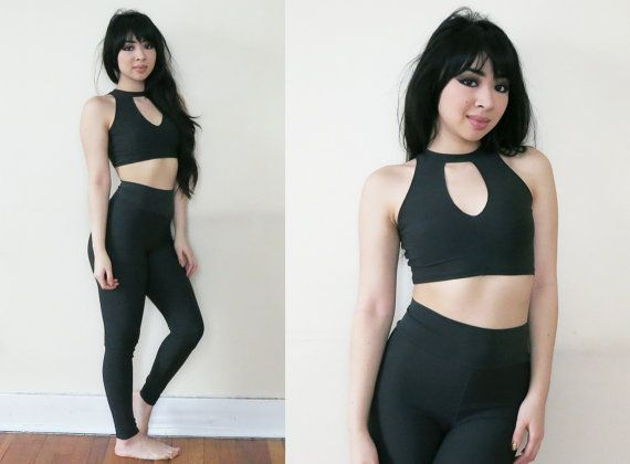 Charcoal Grey Yoga Keyhole Crop Top and HIgh waist Legging Set XS ...