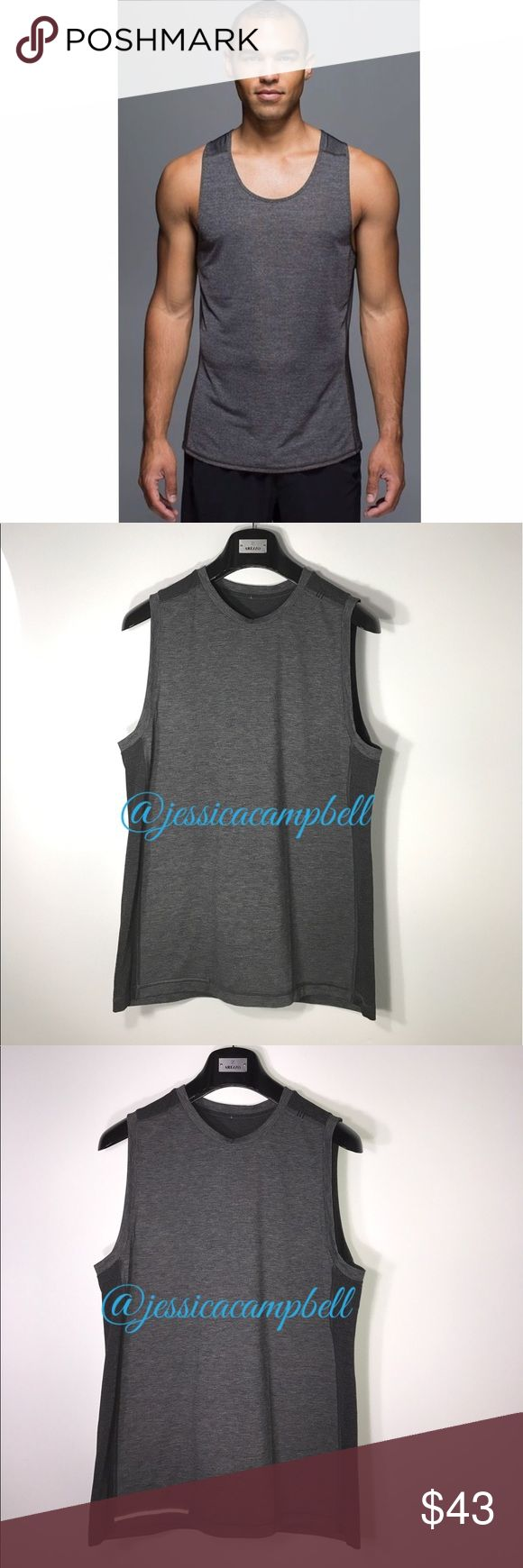 Lululemon {Men's} Metal Vent Tank Heathered Coal Lightweight anti-stink sleeveless shirt will be your multi-sport-go-to. Sweat wicking fabric is breathable,four way stretch. Reflective details in front and back for more visibility at night. No size tag but it's a size medium. Excellent condition. No flaws. All reasonable offers are welcome! Please make all offers through the offer button🤗 lululemon athletica Shirts