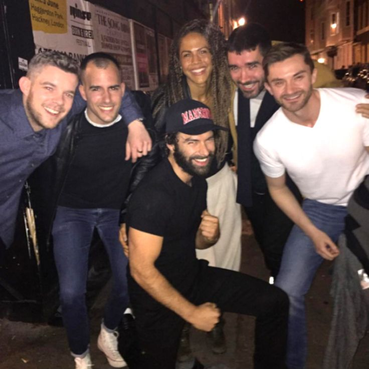 Aidan Turner, Lenora Crichlow, and Russel Tovey with friends in London - May 1, 2016! Love Mitchell's beard ;)
