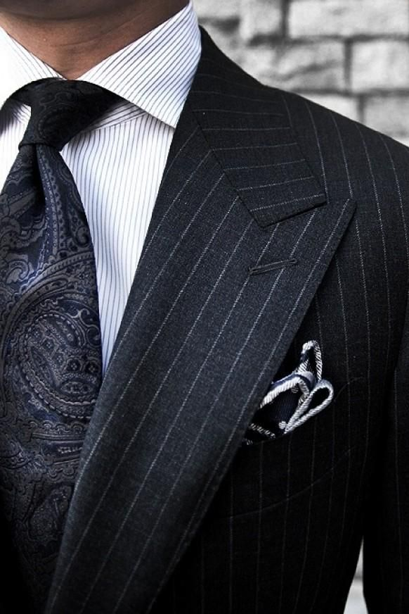 Pinstripes and subdued paisley- always works and so elegant.