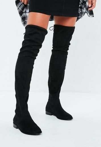 5d8b97ff3301 these over the knee flat boots feature a faux suede fabric