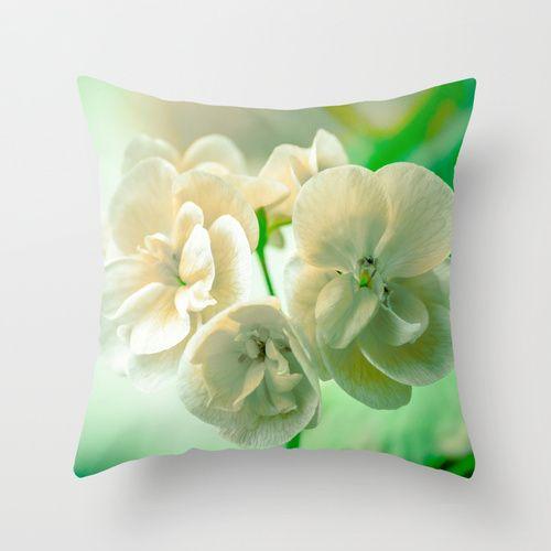 The Morning After Throw Pillow by Ia Loredana   Society6   #Pillow #AreaPillow #ThrowPillow #artprint #print #natureprint #flowerprint #colorprint #photographyprint #outdoordecor #indoordecor Mint Color Pillow