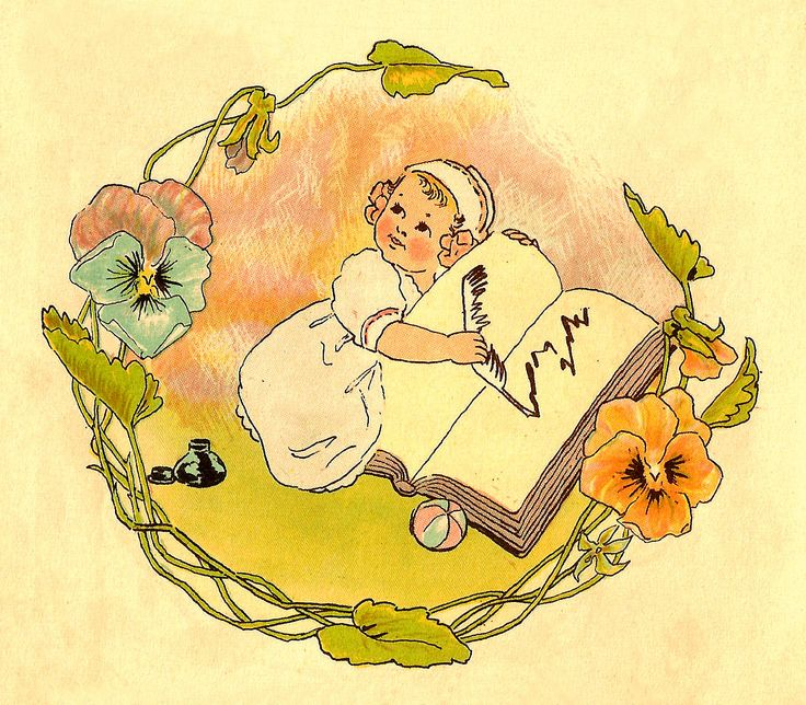Antique Images: Free Baby Clip Art: Vintage Baby Illustration with Pansy Flower Frame