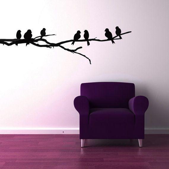 Branch with Bird Silhouettes - Vinyl Sticker, Wall Decal, Vinyl Decal, Wall, Home, Office, Bedroom Decor $26
