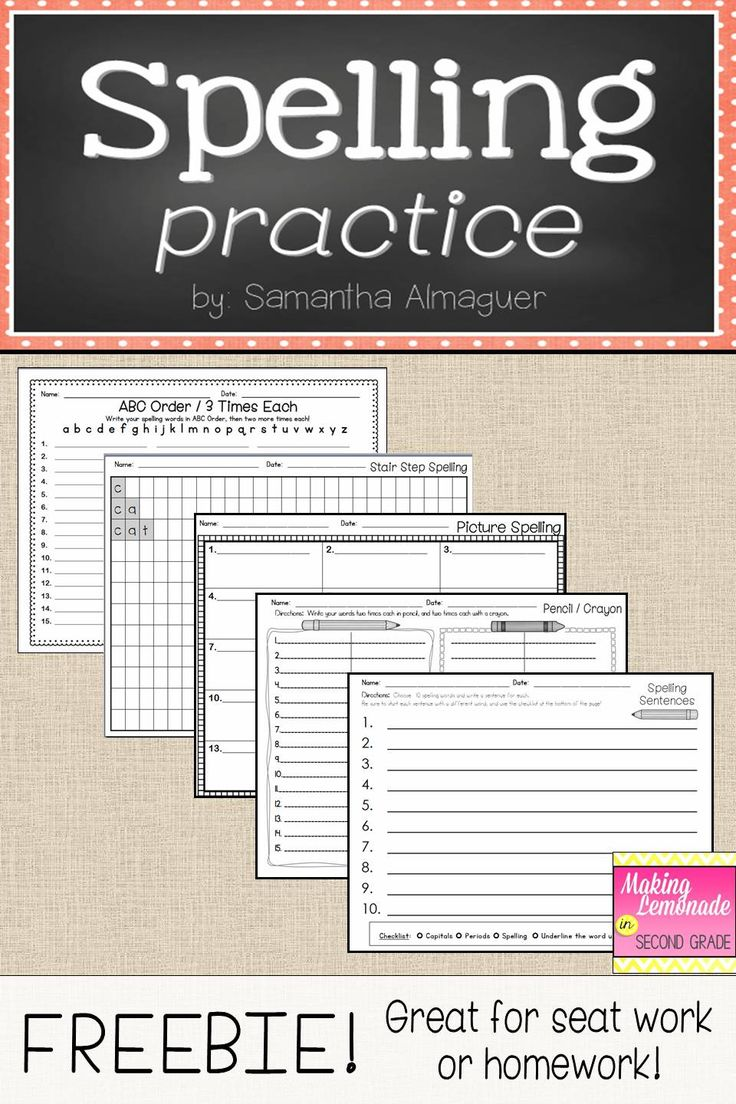 These pages are a simple solution to making easy, useful worksheets for spelling homework or seat work! In this download, you will find five different spelling practice pages for your students, which include: - ABC Order / 3 times each - Stair Step Spelling - Picture Spelling - Pencil / Crayon - Spelling Sentences #spellingpractice #spellinghomework