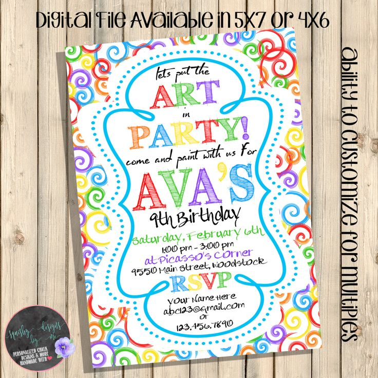 Art Party Birthday Invitation Paint Invite Drawing Coloring Painting