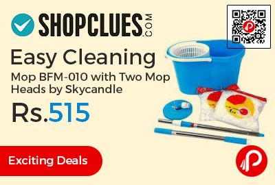 Shopclues #Exciting #Deals is offering 74% off on Easy Cleaning Mop BFM-010 With Two Mop Heads by Skycandle just Rs.515. 360 degree Rotation, It has super spin system which makes drying refill faster.   http://www.paisebachaoindia.com/easy-cleaning-mop-bfm-010-with-two-mop-heads-by-skycandle-just-rs-515-shopclues/