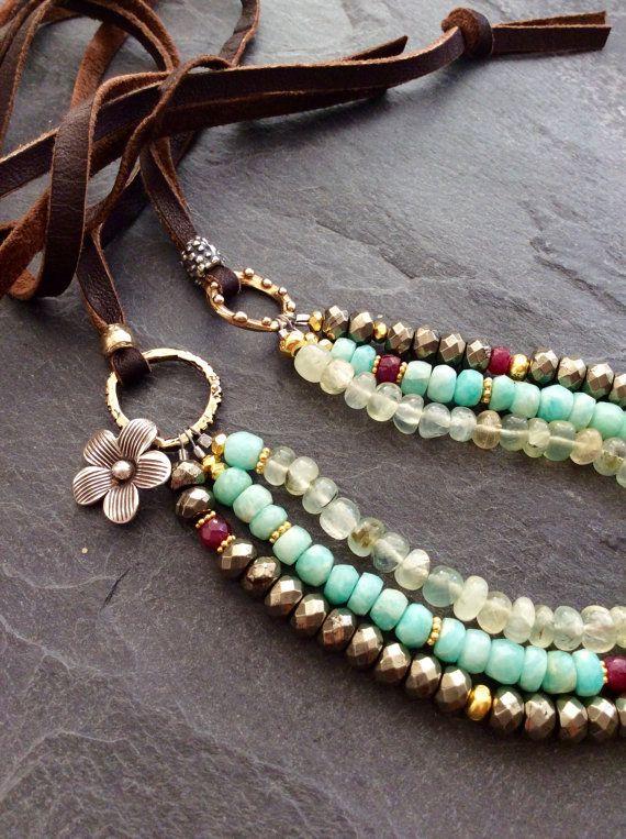 Multi strand boho necklace - Triple Treasure - semi precious beaded rustic chic by mollymoojewels
