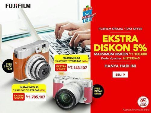 One day special offer 11.11 on fujifilm official store blibli  Fujifilm X-A3 Kit XC 16-50mm (silver)  instax mini 8: Rp. 7599050  Fujifilm X-A3 Kit XC16-50mm (pink)  instax mini 8: Rp. 7143107  Fujifilm Instax 90 Neo: Rp. 1785107 (bonus 2 pack instax airmail paper)  Go grab yours!  #goFujiFilm #fujifilm_id #instaxindonesia  via Fujifilm on Instagram - #photographer #photography #photo #instapic #instagram #photofreak #photolover #nikon #canon #leica #hasselblad #polaroid #shutterbug #camera…