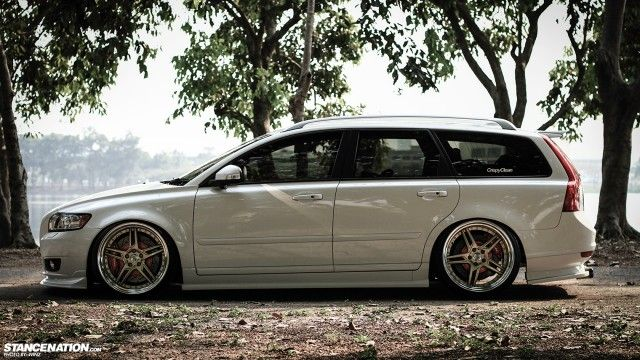 Quite the interesting Volvo V50. Stanced Flush Volvo V50 Wagon. #v50 #volvo #stanced