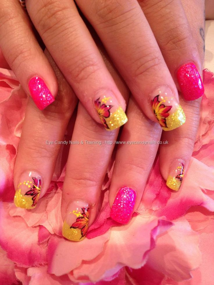 Neon pink and yellow glitter with one stroke flower nail art
