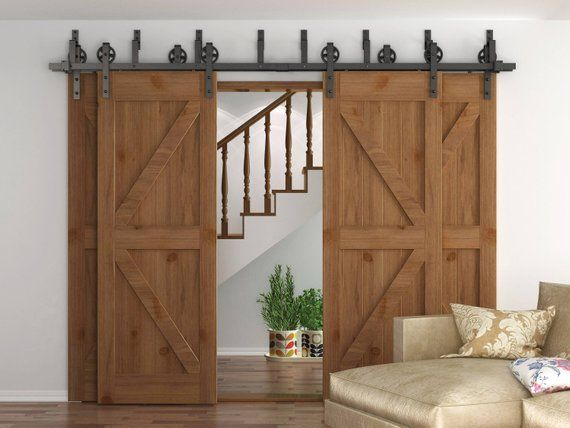 Homedeco Hardware Rustic 10 16 Ft Bypass 4 Doors Barn Door Hardware Sliding Black Steel Door Hardware Interior Interior Barn Door Hardware Wood Doors Interior