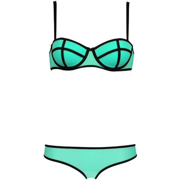 LUCIE SPEARMINT Triangl (£43) ❤ liked on Polyvore featuring swimwear, bikinis, bikini, underwear, swimsuit, triangl, triangle bikinis, triangl bikini, triangl bathing suits and underwire bra