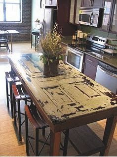 dining table from old door - Google Search Not sure Shelbi would want anything this rustic???