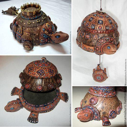 """Статуэтки ручной работы. Ярмарка Мастеров - ручная работа. Купить """"Кокосовые черепахи"""" интерьерные украшения. Handmade. Коричневый, подставка для украшений"""