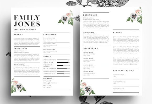 Modern Resume/ PSD+Word File by Emily's ART Boutique  on Creative Market