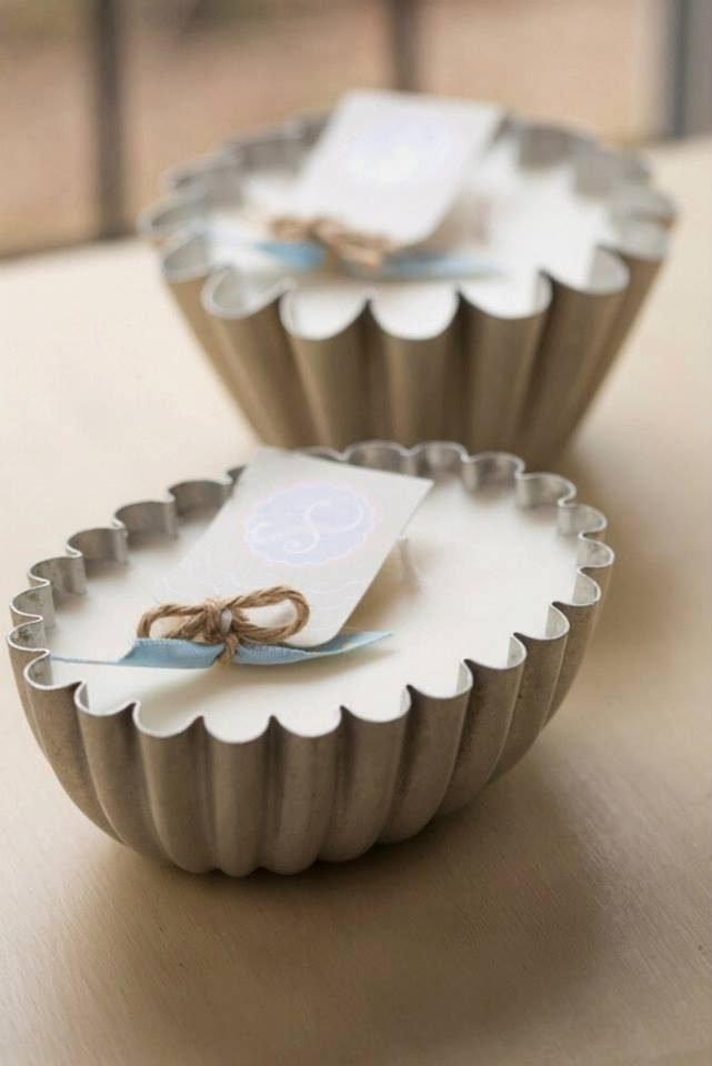 Aluminium Jelly moulds, I love the pretty fluted edges. Filled with Creme Brûlée and Vanilla Serendipity Candles www.serendipitycandles.co.uk