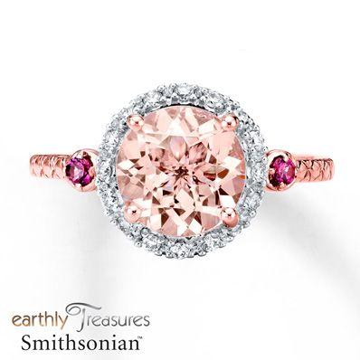 Morganite Ring 1/8 ct tw Diamonds 14K Rose Gold