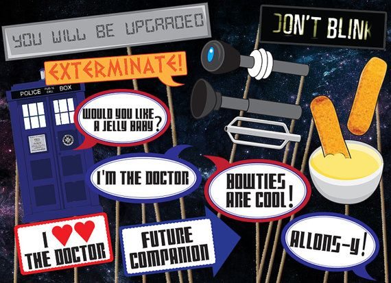 Doctor Who Photobooth Printables - 16 piece - Instant Download, Print, & Party - Dr Who Photo Booth Paper Props