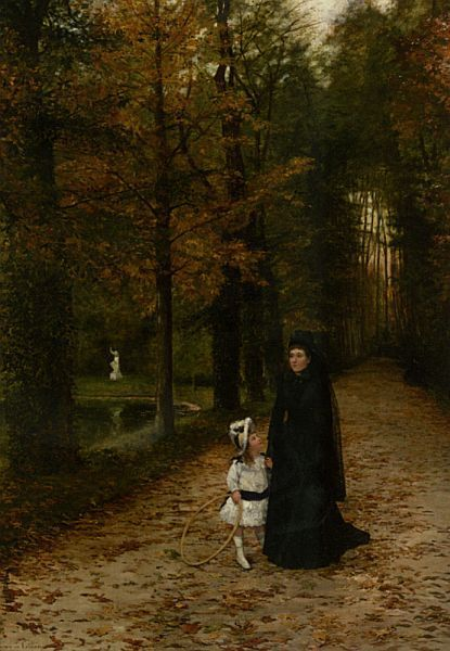 La Promenade dans le Parc also known as The Widow, 1887, oil on canvas laid on masonite by Horace de Callias, French, 1847-1921. Private collection. The widow stares straight ahead lost in thought as her daughter looks and wonders. The little girl...