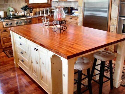 wooden kitchen island posts