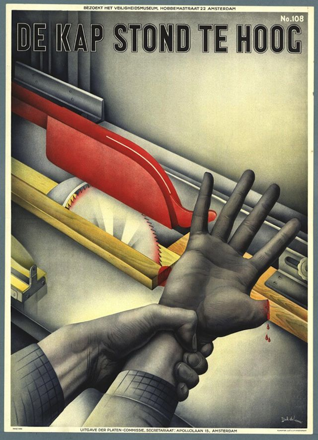 Dutch Safety Posters: 1940, poster by Drik de Leeuw via Memory of the Netherlands