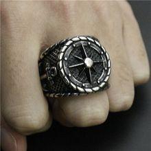 Timón ancla joyería del acero inoxidable del cráneo espada anillo de la venda…