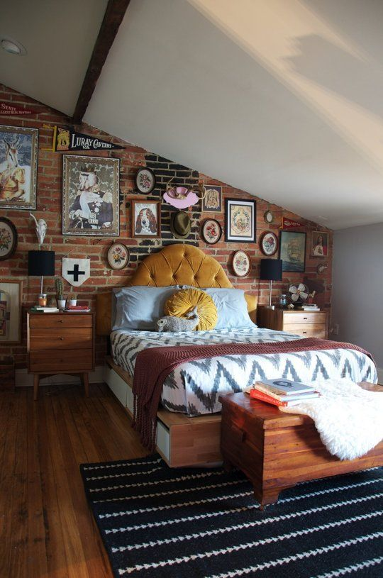Show off fun posters and travel souvenirs by hanging them on exposed brick. Make sure not to cover the brick too much—you don't want the wall to lose its charm.