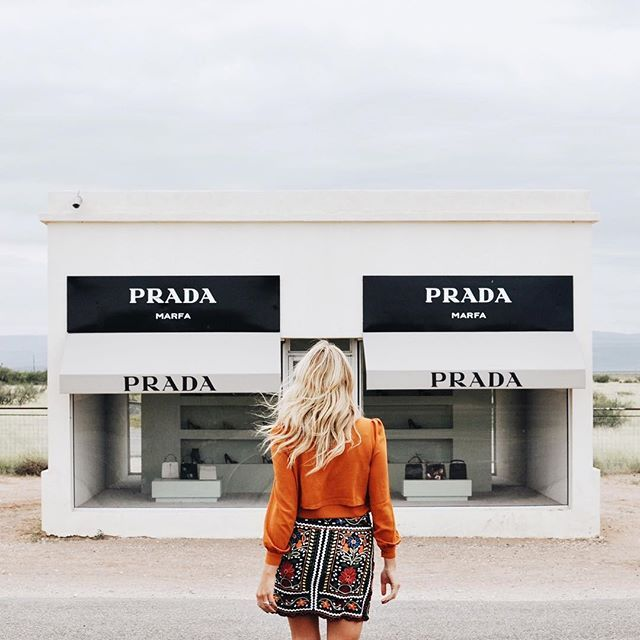 prada marfa texas / zara southwest embroidered skirt shopbop tie neck blouse in burnt orange /  lauren stephanie wells @laurenswells