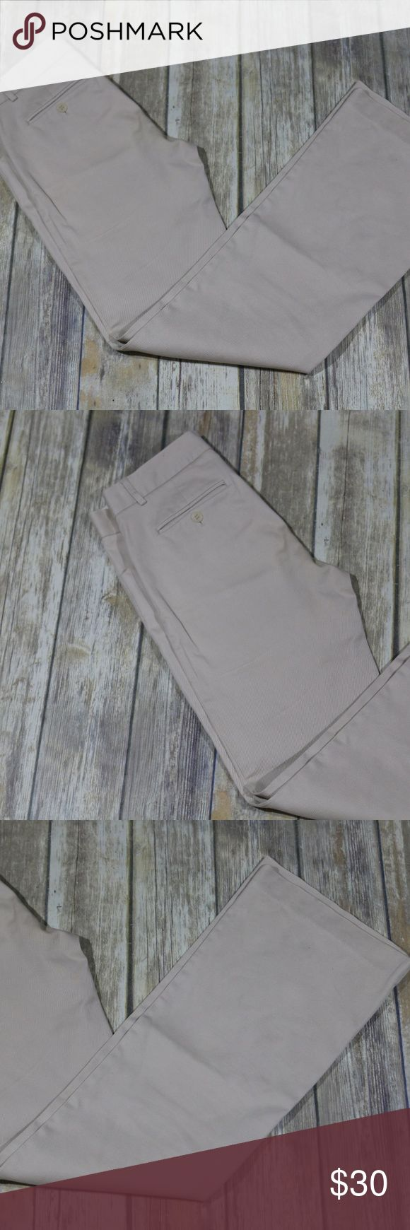 """Theory straight leg trouser pants khakis career Theory Women's straight leg trouser pants.  Size 6.  Khaki color.  Zip fly with hook-and-bar closure.  Front slant pockets; back buttoned welt pockets.  Belt loops.  Unlined.  Straight leg, widens at knees (almost a boot leg style).  Style #21004235.  97% cotton, 3% lycra.  Dry clean.  In good, preowned condition with no flaws noted.  No trades, offers welcome.    Approximate measurements   Waist: 15"""" left to right at back  Rise: 8""""  Inseam…"""